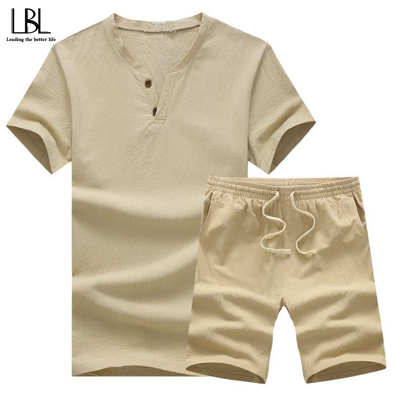 Summer Mens Tracksuit Middle-aged Streetwear V Neck T Shirt + Shorts Men 2 Pieces Cotton And Linen Fitness Clothing Dad Costume