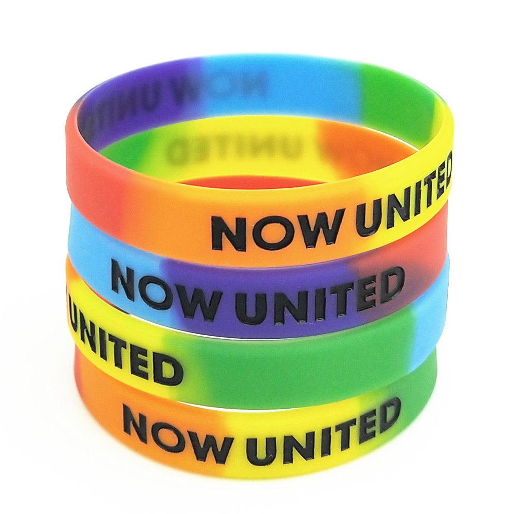 1PC NOW  UNITED Silicone Wristband Rainbow Color Sports Rubber Silicone Bracelets&Bangles Fashion Jewelry Gifts SH327