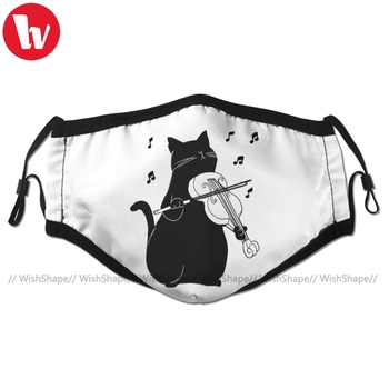 Violin Mouth Face Mask Black Cat Playing Violin Funny Musician Gift Facial Mask Fashion Cool with 2 Filters for Adult