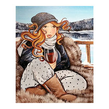 woman fat portrait Moge Diamond Painting Full Round winter scenic New DIY sticking drill cross embroidery simple home decorative