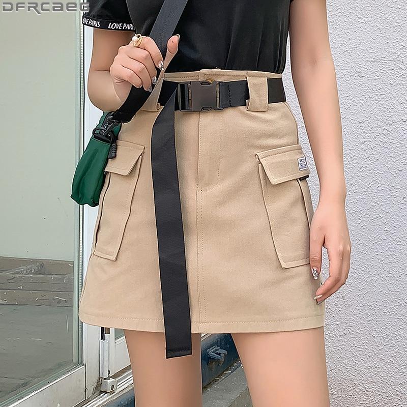 Harajuku Mini Cargo Skirts Womens Summer With Belt Hip Hop Jupe Femme Pockets Streetwear Ladies Skirts New High Waist Punk Skirt