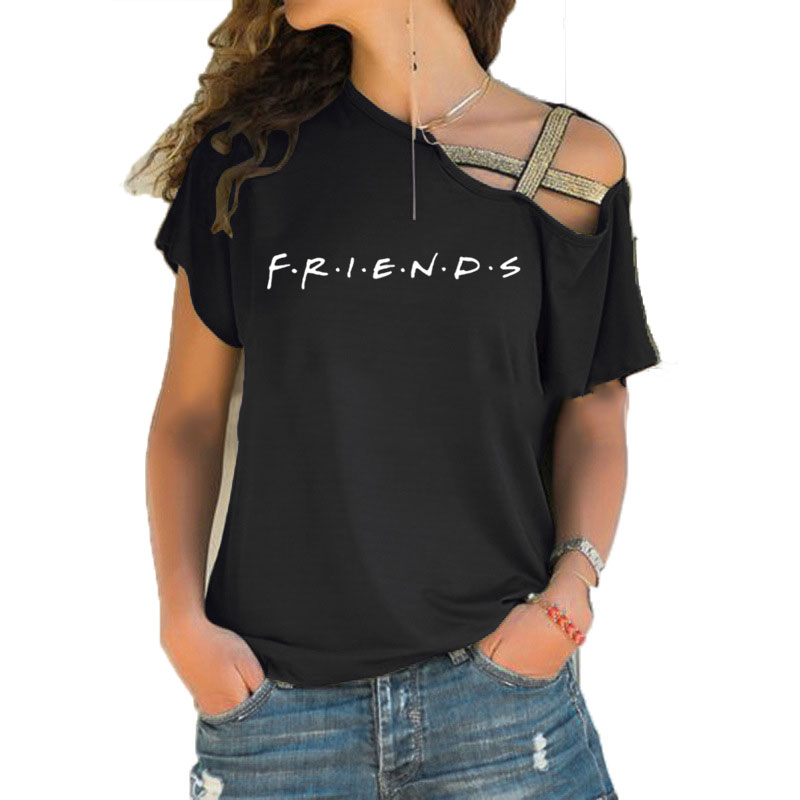 FRIENDS Letter Print Women tshirt Cotton Short Sleeve Casual Funny t shirt For Lady Girl Irregular Skew Cross Bandage Top Tee image