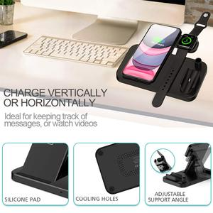 Image 5 - DCAE Wireless Charger QI 4 in 1 10W Fast Charging Dock Station for Apple Watch 5 4 3 2 Airpods Pro iPhone 11 XS XR X 8 Stand Pad