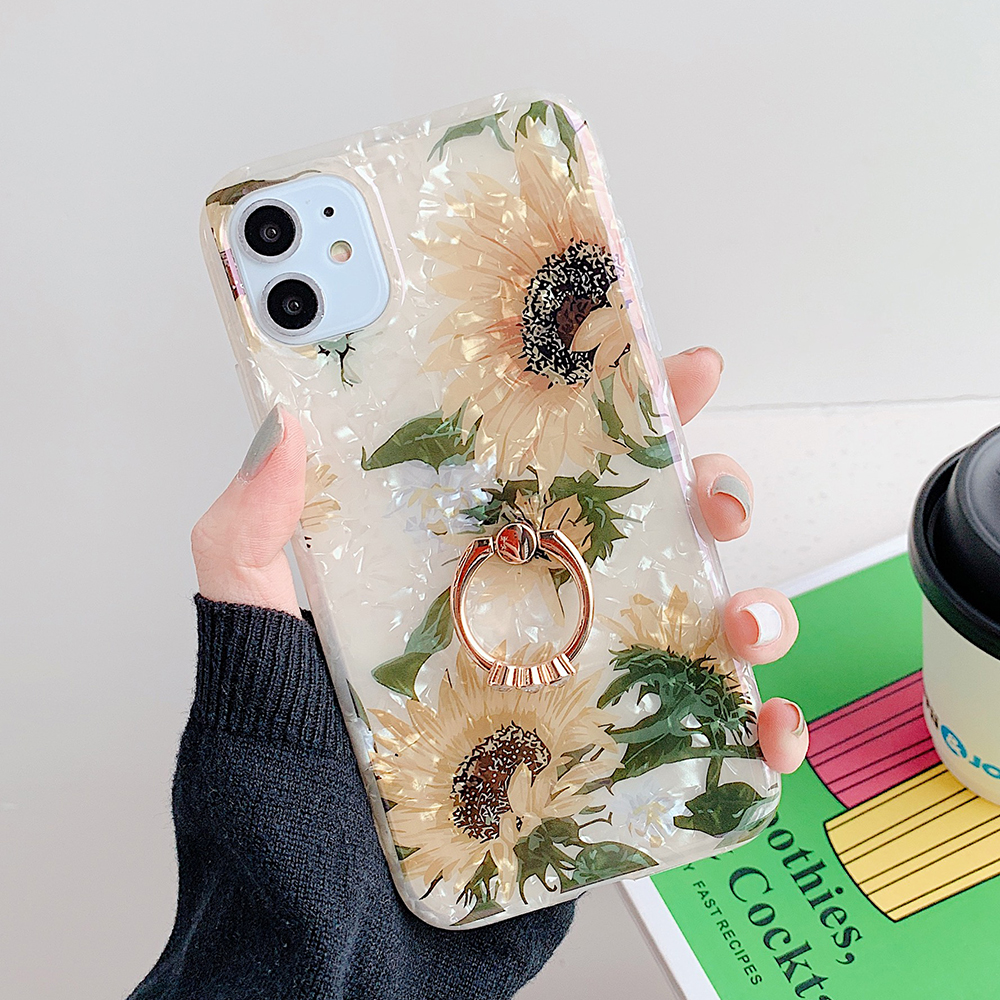 LOVECOM Retro Floral Ring Stand Phone Case For iPhone Models 46