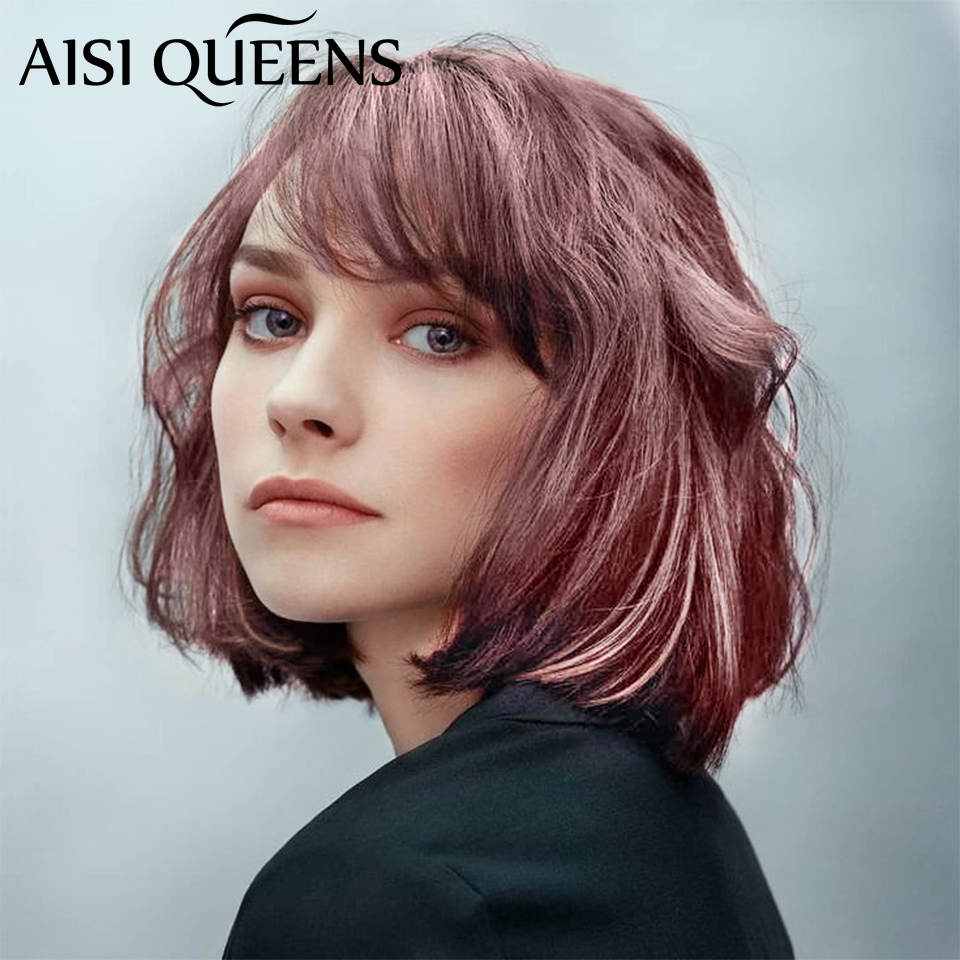 AISI QUEENS Short Purple Wig Synthetic Wigs With Bangs For Women Brown Water Wave Natural Bob Wigs Heat Resistant False Hair