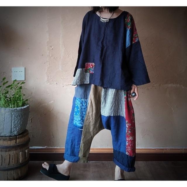 Women Linen  Patchwork Plus Size Blouse Tops Ladies Vintage Flax Spliced Oversize Shirts Female 2020 Summer Autumn Blouses 4