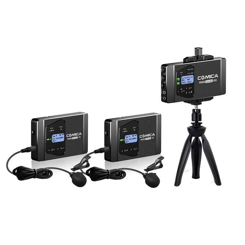 Comica Cvm Ws60 мини беспроводной микрофон системы (два передатчика один приемник) для смартфонов и камер, Uhf 12 каналов 60 м - 4