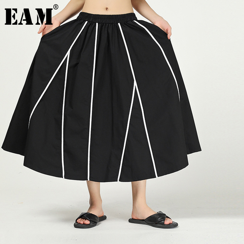 [EAM] High Elastic Waist Black Striepd Split Joint Temperament Half-body Skirt Women Fashion Tide New Spring Autumn 2020 1N517