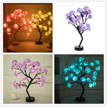 Battery Box Usb Power LED Table Lamp Lights Rose Flower Tree Led Night Lights Home Decoration Night Lights Valentine #8217 s Day cheap LBTFA floral CN(Origin) Resin Switch Dry Battery HOLIDAY 0-5W Artificial flower for home lamps in the room children s night light