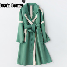 New Fashion Patchwork A-Line Type Double-sided Korean Coat With Pockets Thicken Medium-long Belt Wool Fall 2019 Long