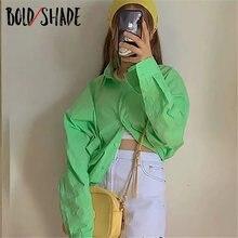 Женская блузка в стиле Харадзюку зеленая рубашка с длинным рукавом