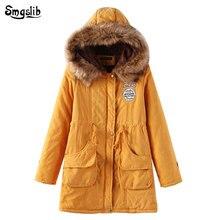 2019 Women Long Winter Jacket sweet letter Parka Warm Padded Female Hooded Plus Size