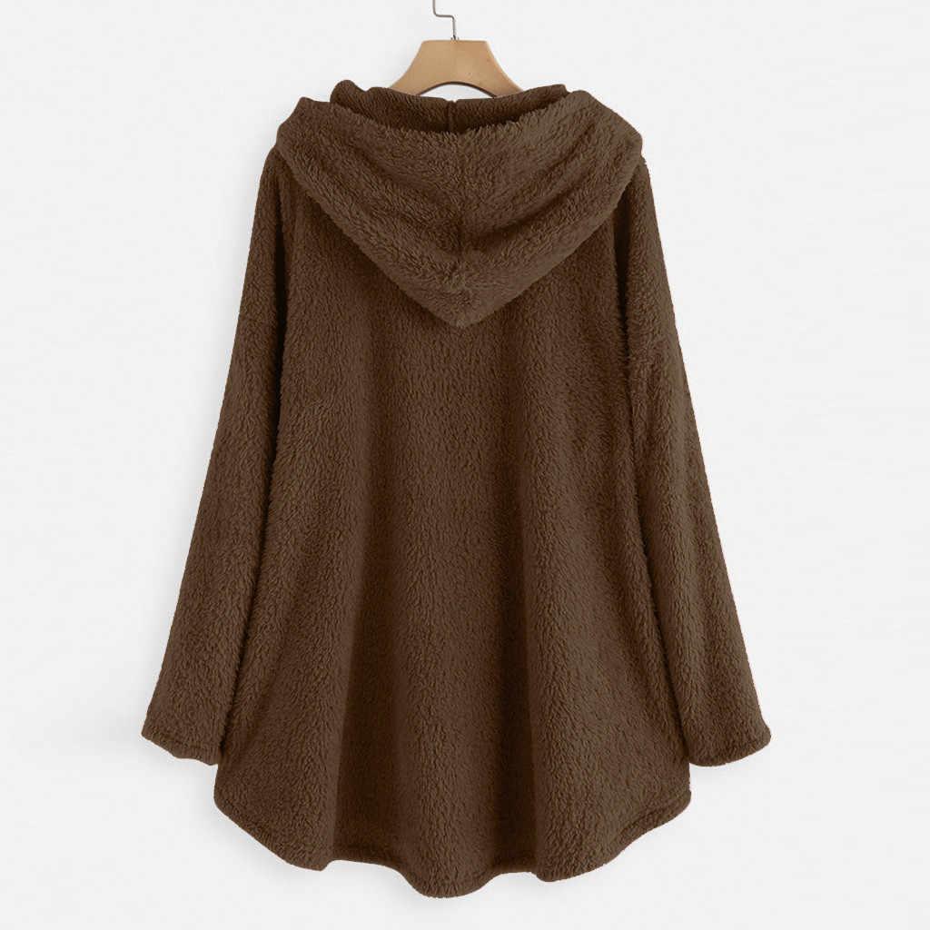 Cat Print Long Hoodies Sweatshirt Women Fleece Warm Embroidery Pocket Pullovers Cat Ear Plus Size Hoodie Blouse Sweat Femme #L45