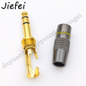 Image 4 - 10 100Pcs New Jack 6.3 Smoothly Gold plating 6.35mm 3 Pole Stereo / 2 Pole Mono Plug Assembly Wire Connector Gunmetal Audio Plug