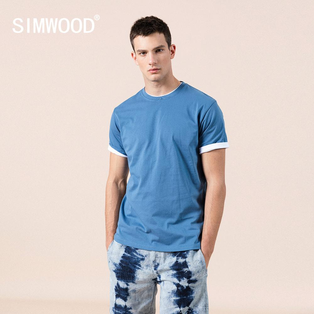 SIMWOOD 2020 summer new 100% cotton white solid t shirt men causal o-neck basic t-shirt male high quality  classical tops 190449 1