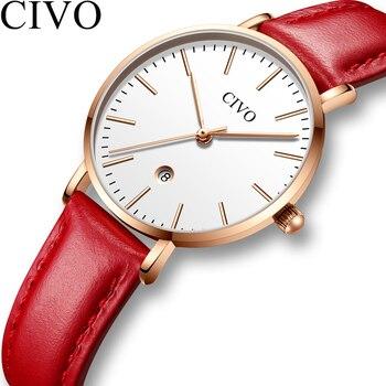 NO.2 Fashion Ultra Thin Womens Watches Top Brand Luxury Waterproof Date Ladies Watches Red Leather Strap Clock Relogio Feminino
