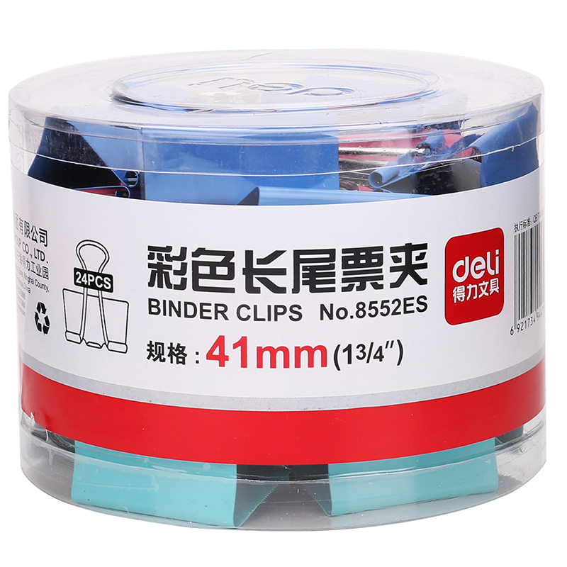 Deli 8552 Color Binder Clips (Barrel) 41 Size Color Ticket Clips 24/Tube