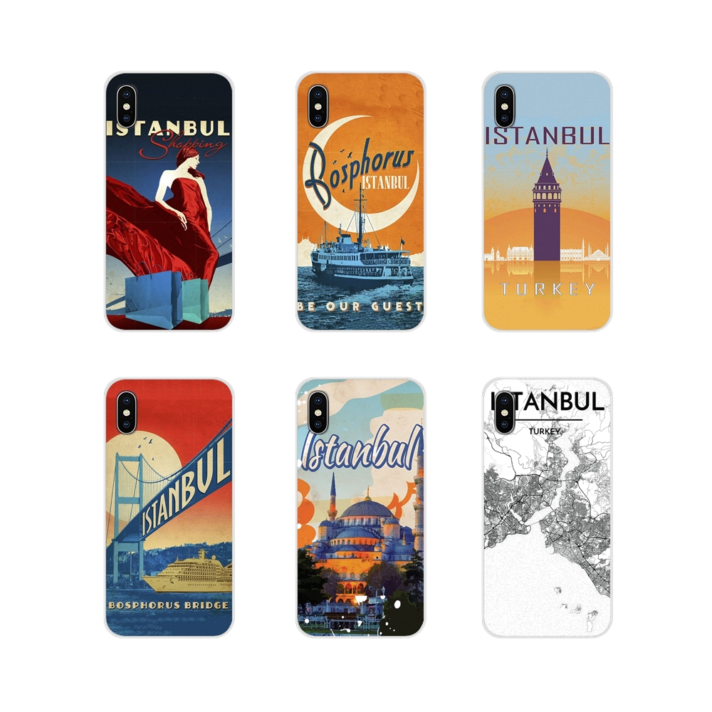 Turkey <font><b>Istanbul</b></font> travel poster For Xiaomi Mi4 Mi5 Mi5S Mi6 Mi A1 A2 5X 6X 8 9 Lite SE Pro Mi Max Mix 2 3 2S TPU Transparent Cases image
