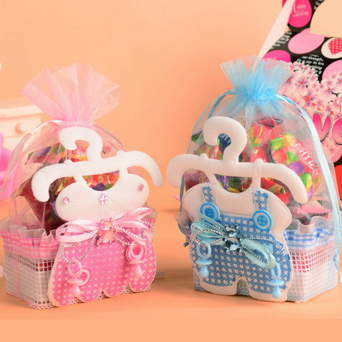 12pcs Baby Child Boys Gilrs Candy Bags Cute Feeding-bottle Fabric Baby Shower Kids Sugar For Birthday Party