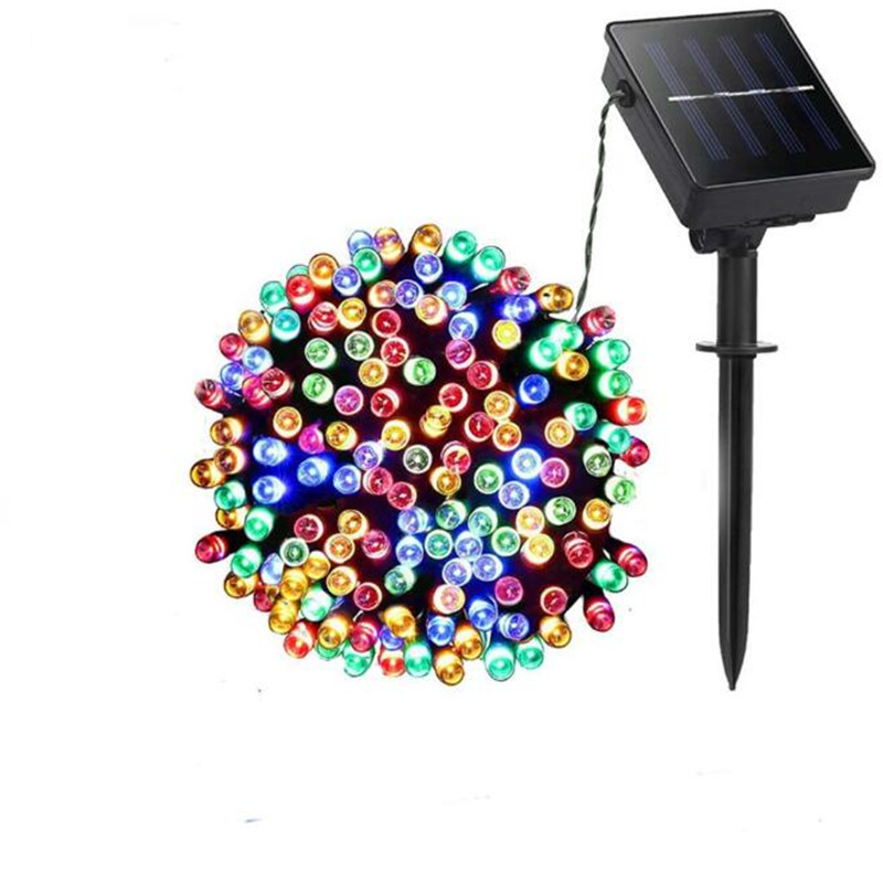 200 LED Solar Power Waterproof 8 Mode Holiday Lighting Street Garland Houses Christmas Tree Yard Xmas Decoration String Lamp