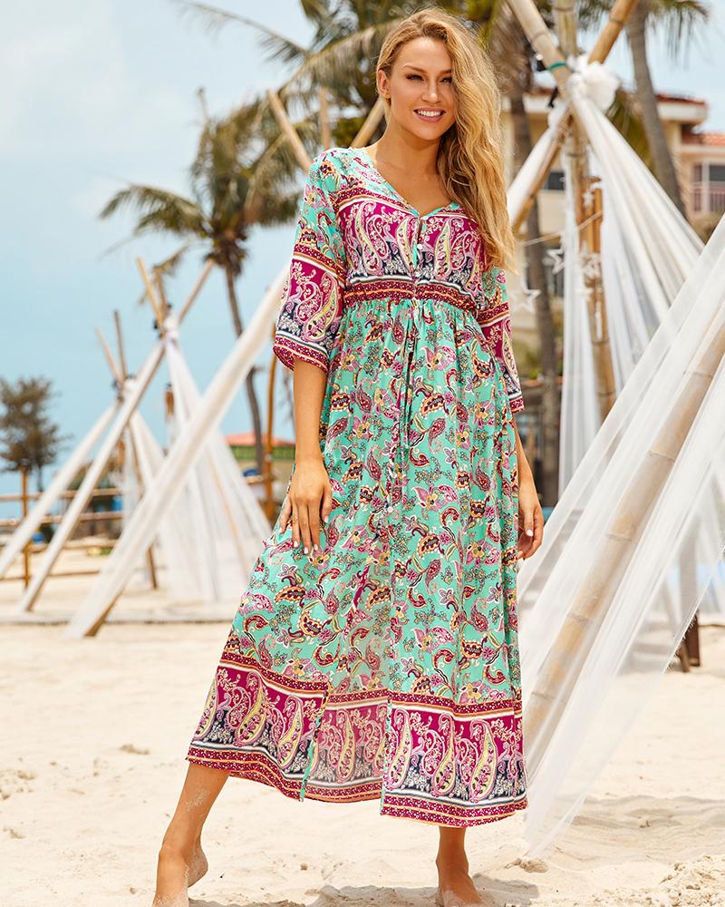 Hd76680e4e7e24f1ebe1911a2c5cfc68bN - Sexy Bikini Cover ups Cotton Tunic Boho Printed Summer Beach Dress Elegant Women Plus Size