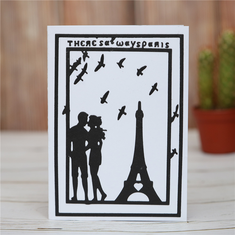 Metal Cutting Dies and Stamps Eiffel Tower for Scrapbooking Paper Card Crafts