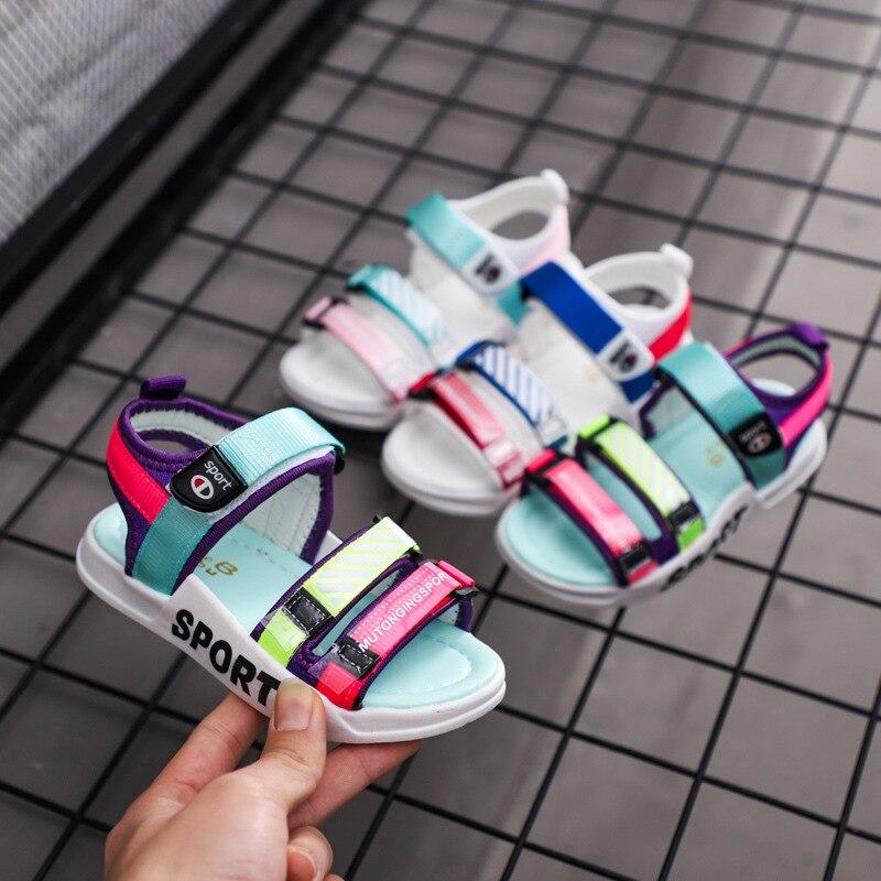 Unisex 2020 Little Girl Shoes Sandals Causal Canvas Boys Beach Shoes Summer Purple Blue Pink Letter Printing Kids Sandals D03012