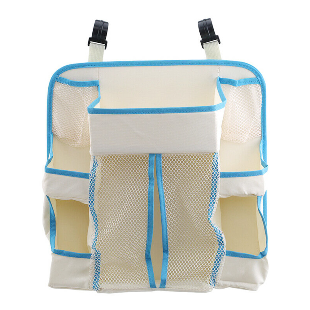 Multi Pockets Waterproof Holder Nursery Durable Hanging Portable Storage Bag Baby Crib Bedding White Diapers Organizer