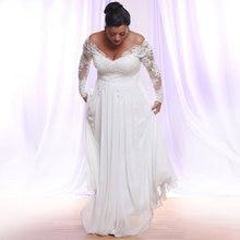 Горячие Длинные рукава шифон Свадебные платья размера плюс глубокий