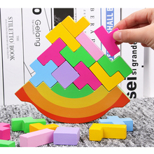 2019 New Tetris Puzzle Wooden Toy Children Balance Development Intelligence Rainbow Color stack high