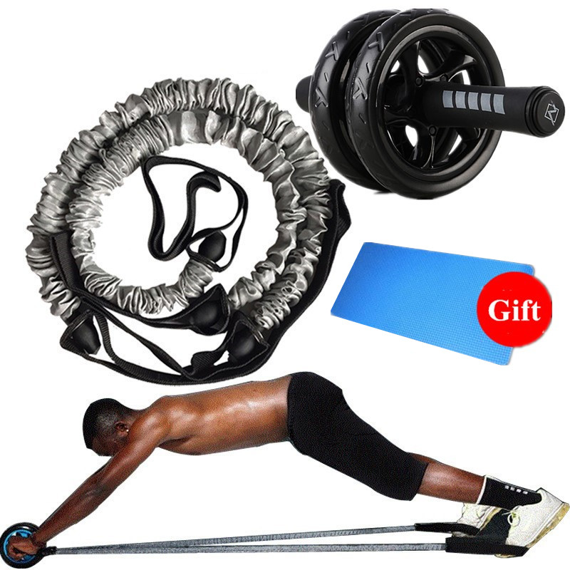 Fitness AB Roller With 2 PCS Elasticity Pull Rope Waist Abdominal Core Workout  Abs Slimming Home Exercise Wheel Gym Equipment