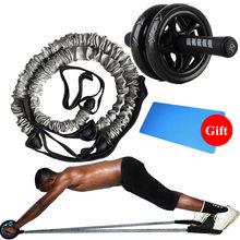 Rodillo de Fitness AB con 2 uds. De cuerda elástica, para cintura, Abdominal, entrenamiento central, Abs, adelgazante, Ejercicio en casa, equipo de gimnasio