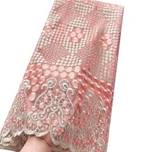 Peach High Quality French Tulle Lace with Stones Nigerian Latest Lace Fabric 2018 High Quality Lace Swiss Mesh Material Fabric(China)