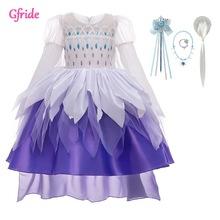 Cekinowa dziewczyna Cosplay suknia królowej śniegu dla dzieci śpiąca królewna ciasto kostiumy księżniczka dziewczyny fantazyjne na imprezę tematyczną lub urodzinową tanie tanio Gfride CN (pochodzenie) Suknie anime Zestawy Unicorn Elsa Belle Cinderella Aurora Rapunze Jasmine Poliester blue long puff sleeve