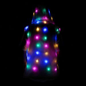 Image 2 - LED ملابس للحفلات متوهجة وامض أضواء أكمام جيوب مقنعين غير رسمية سترة سترة معطف ازياء مجموعة الوالدين والطفل الملابس
