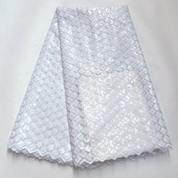 Most popular white french lace lurex embroidery African tulle lace fabric Nigerian Ghana evening dress high quality Wo440
