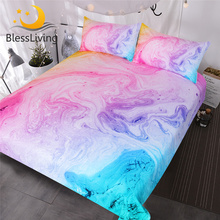 BlessLiving Colorful Marble Bedding Set Pastel Pink Blue Purple Quicksand Duvet Cover Abstract Art Bed Set