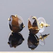 Мини серьги гвоздики из натурального кристалла с каплями камня