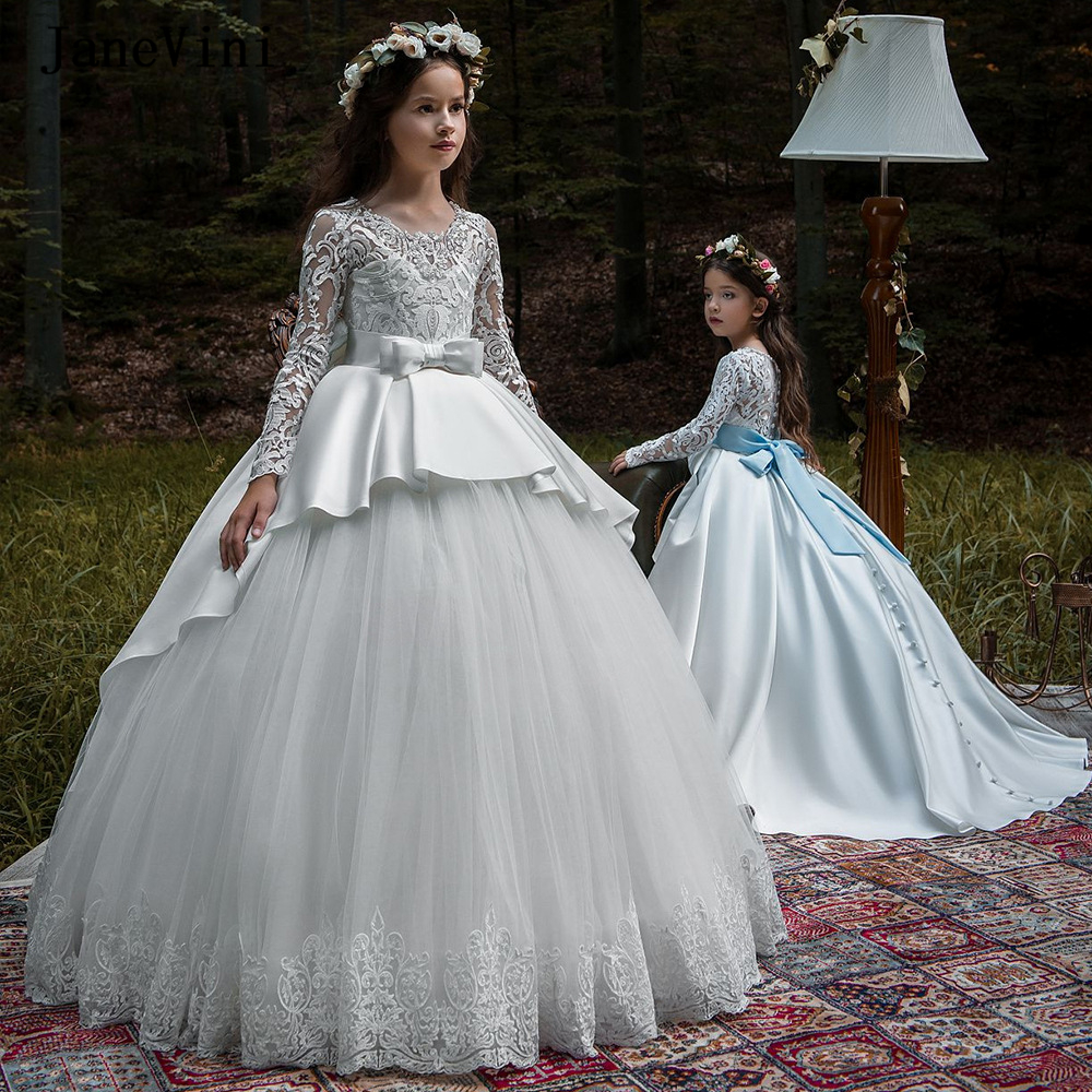 JaneVini Vintage Princess Ball Gown Tulle   Flower     Girl     Dresses   for Weddings Appliques Long Sleeve Button Back   Girls   Pageant Gowns