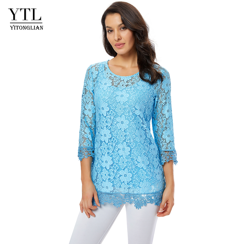 Women's Two-piece Set Blouses Hollow Out Tunics Round Neck Sky Blue Lace Floral Pattern Blouse Summer Shirt Plus Size H244