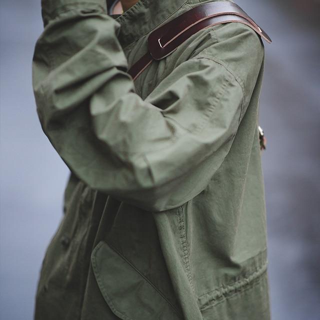 Veste homme Maden hommes Vintage M51 queue de poisson armée vert et Camel Trench manteau tissé taille corde mi-longue surdimensionné ample militaire manteau 4