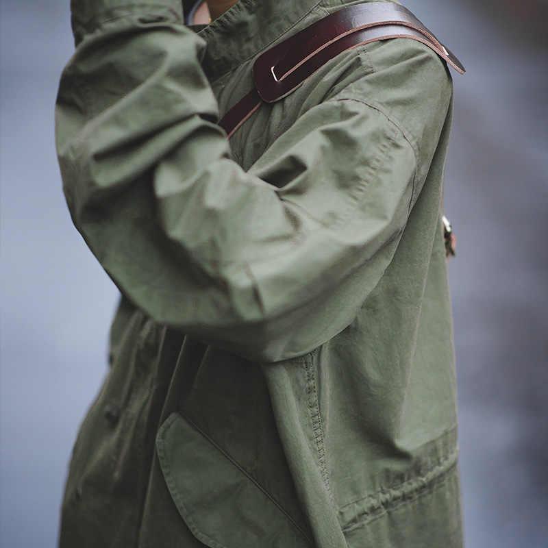 Мужской Тренч в стиле ретро Maden m51, ветровка в стиле милитари с рыбим хвостом, зеленая ветровка большого размера на осень и весну