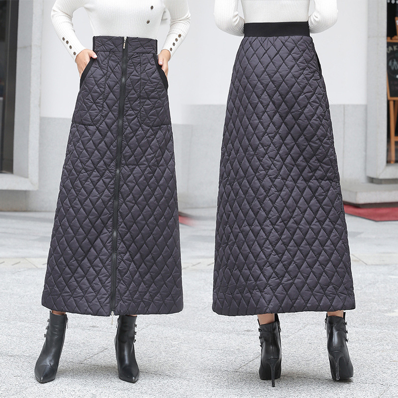 Photo Shoot 2019 New Style Autumn And Winter Quilted Solid Zipper Warm Skirt Vm1153