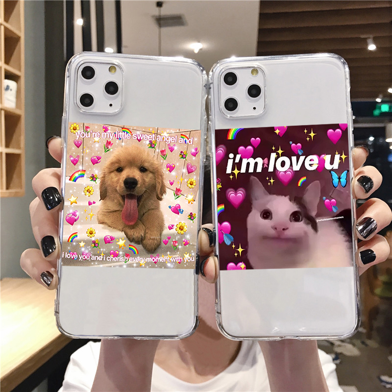 Super cute cat dog cartoon pink Heart-shaped YOU&ME series HD Clear phone case for iphone 11 Pro XS Max X XR 8 7 6 6S Plus 5S SE image