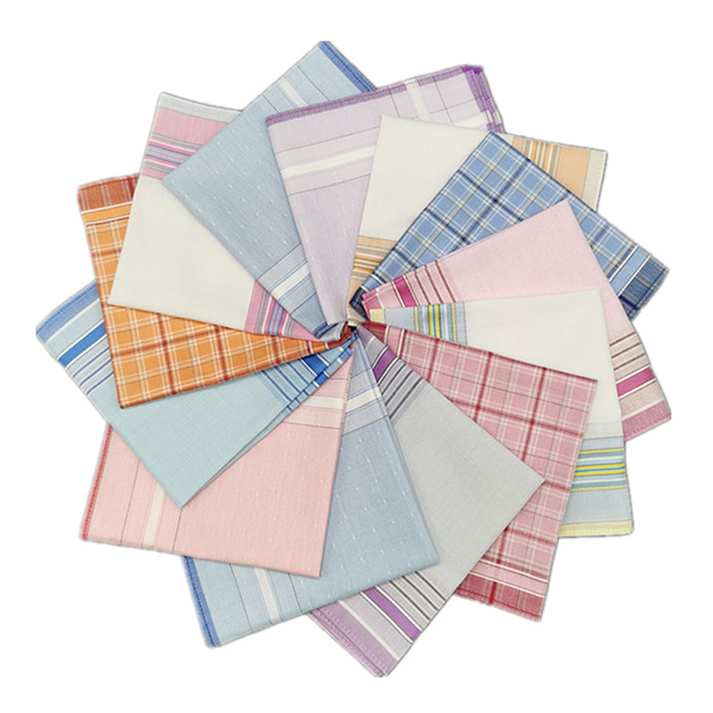 6 Pcs Handkerchiefs 100% Cotton High Quality 28x28cm Check Pattern