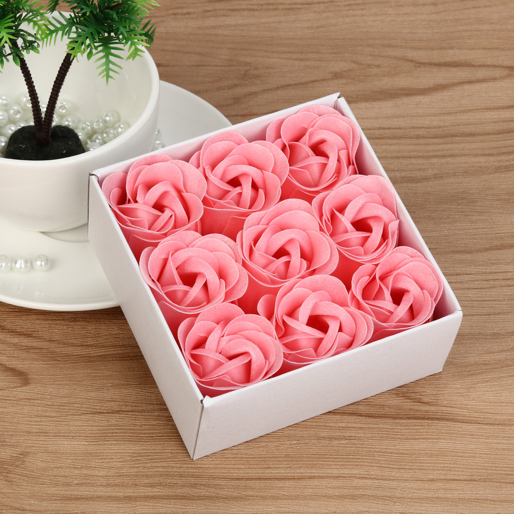 Rose Soap Flower Case Heart Scented Bath Body Petal Rose Flower Soap Wedding Gift Best Decoration Case Festival Box #40