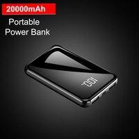 Mini banco de potência 20000 mah 5 v 2a tela espelho poverbank para xiaomi iphone bateria externa carregador portátil 20000 mah powerbank