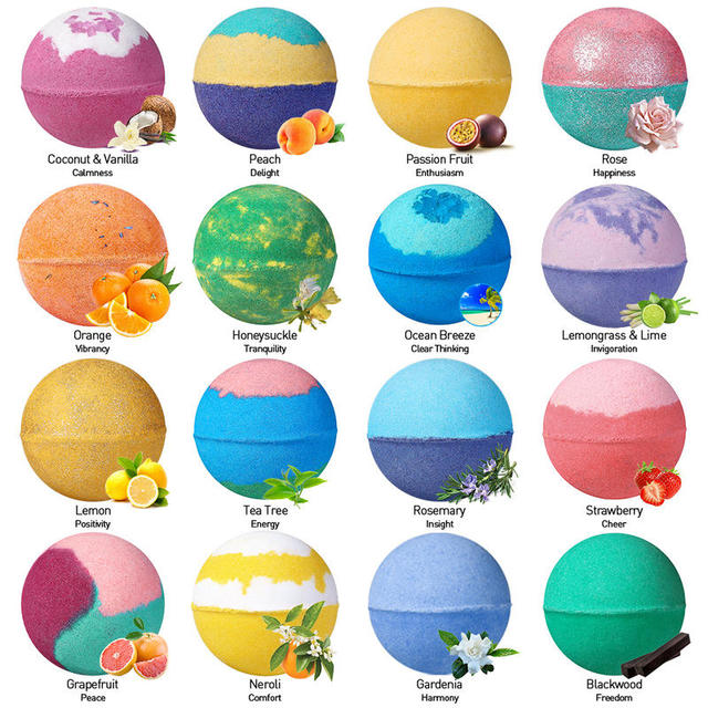LAGUNAMOON 28Pcs Fresh Scent Multi-Flavor Bath Bombs Gift Set Bubble Bars Salt Ball Mood Enhancer Skin Moisturize 2
