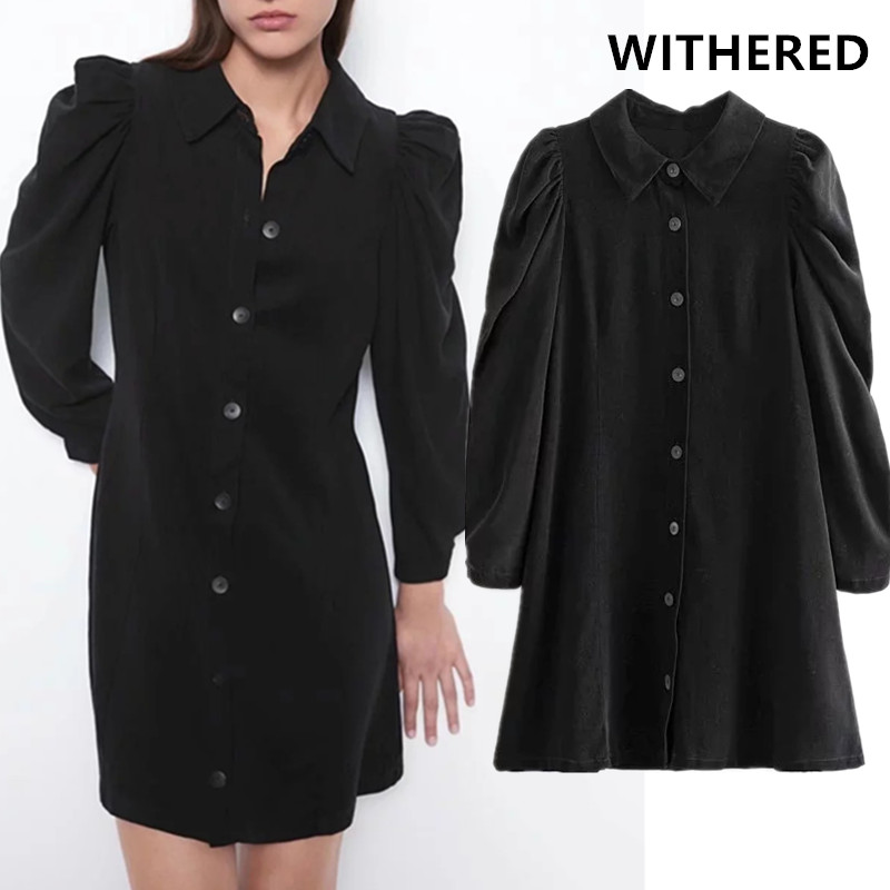 Withered 2019 England Vintage Puff Sleeve Corduroy Black Mini Dress Women Long Shirt Vestidos De Fiesta De Noche Vestidos Blazer