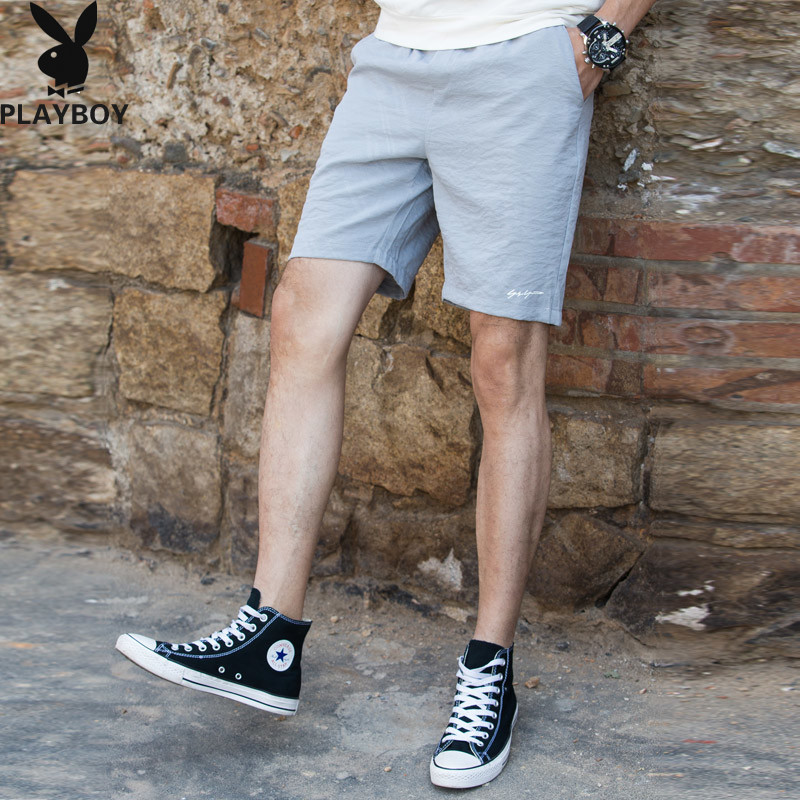 PLAYBOY Men's Summer Pure Cotton Large Size Shorts Simple Casual Large Trunks Men's